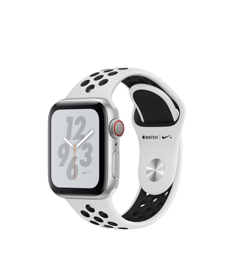 Apple Watch Nike+ Series 4 GPS + Cellular, 40mm Silver Aluminum Case with Pure Platinum/Black Nike Sport Band (MTX62)