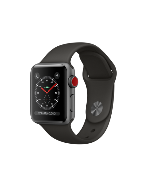 Apple Watch GPS + Cellular 38mm Space Gray Aluminum Case with Gray Sport Band MR2W2