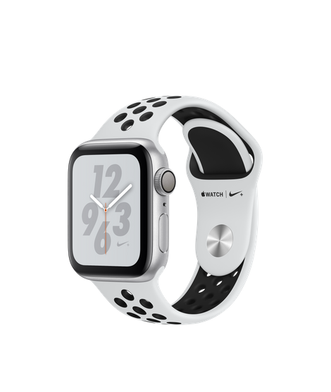 Apple Watch Nike+ Series 4 (GPS) 40mm Silver Aluminum Case with Pure Platinum/Black Nike Sport Band (MU6H2)