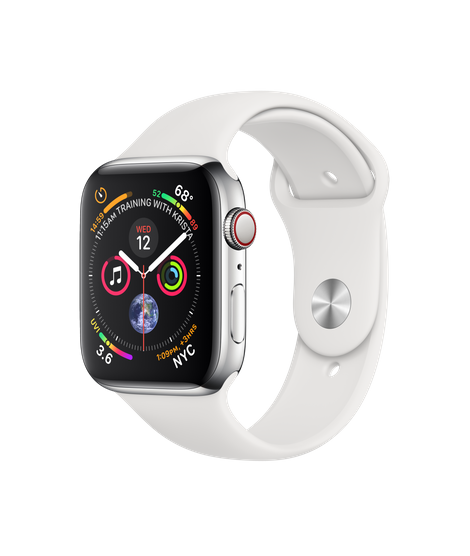 Apple Watch GPS + Cellular 44mm Stainless Steel Case with White Sport Band (MTX02)