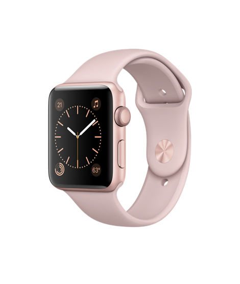 Apple Watch 42 mm Rose Gold Aluminum Case with Pink Sand Sport Band (MQ142)
