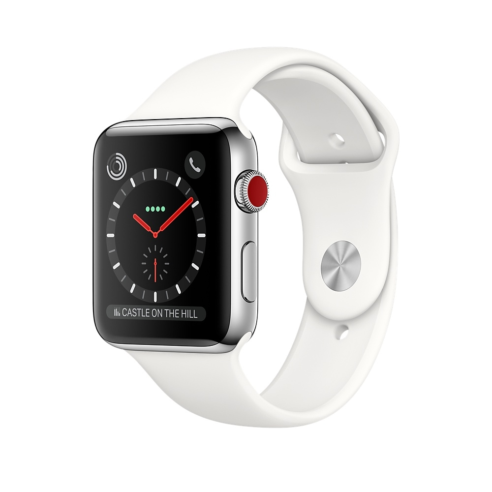 Apple Watch GPS + Cellular 42mm Stainless Steel Case with Soft White Sport Band MQK82