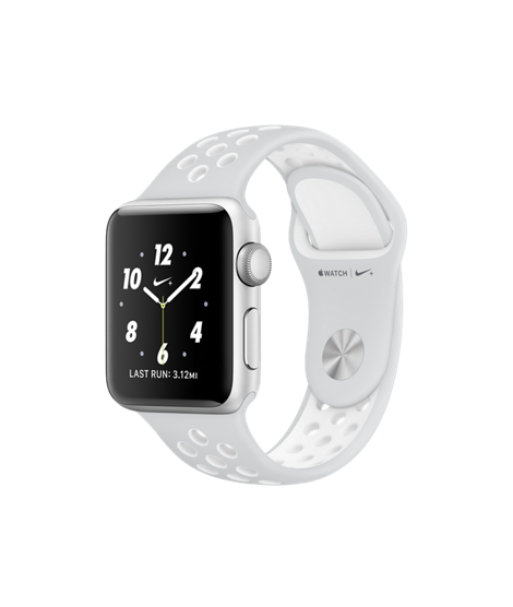 Apple Watch Nike+ 38 mm Silver Aluminum Case with Pure Platinum/White Nike Sport Band (MQ172)