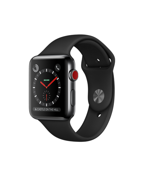 Apple Watch GPS + Cellular 42mm Space Black Stainless Steel Case with Black Sport Band MQK92