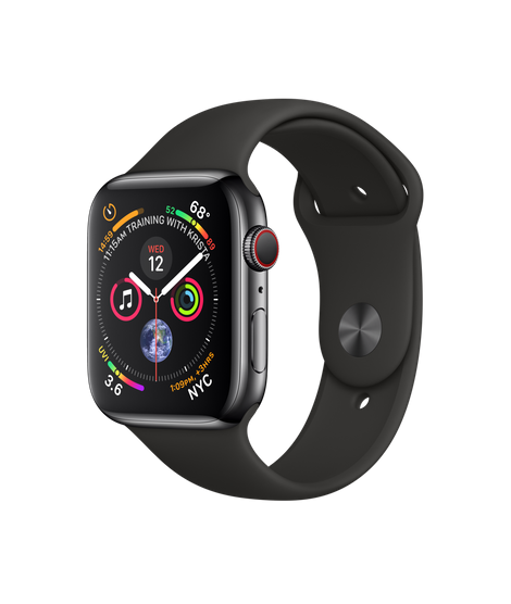 Apple Watch GPS + Cellular 44mm Space Black Stainless Steel Case with Black Sport Band (MTX22)