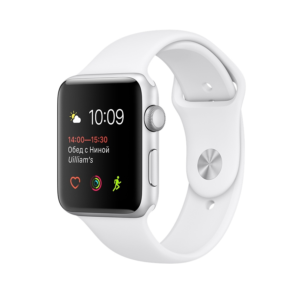 Apple Watch,  38mm Silver Aluminum Case with White Sport Band MNNG2
