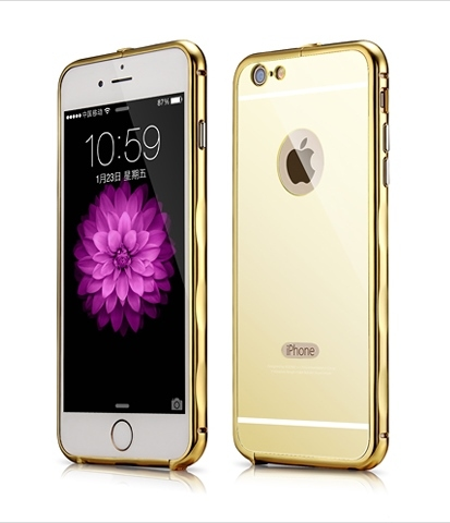 Bumper Xoomz Mirror Back Cover Case iPhone 6/6S Gold