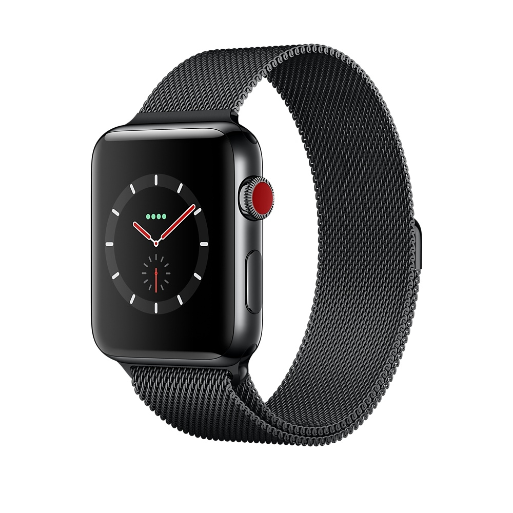Apple Watch GPS + Cellular 42mm Stainless Steel Case with Space Black Milanese Loop MR1L2