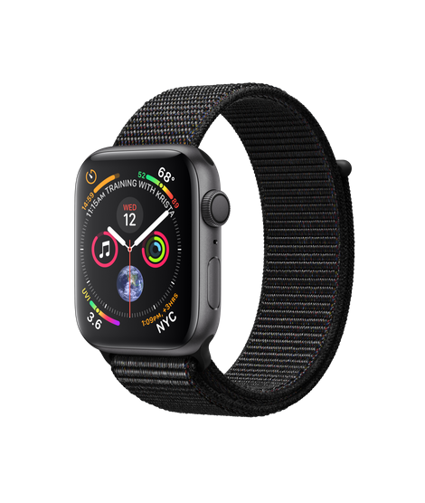 Apple Watch GPS 44mm Space Gray Aluminum Case with Black Sport Loop (MU6E2)