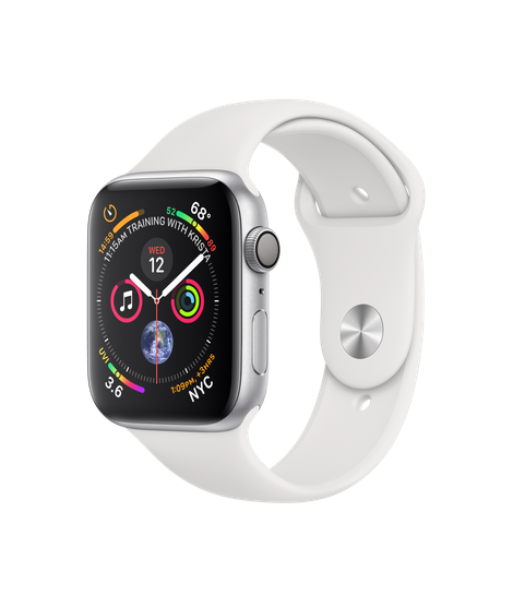Apple Watch GPS 44mm Silver Aluminum Case with White Sport Band (MU6A2)
