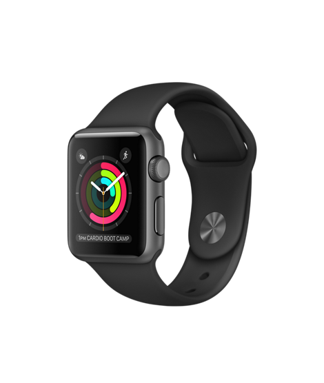 Apple Watch, 38 mm Space Gray Aluminum Case with Black Sport Band MP0D2