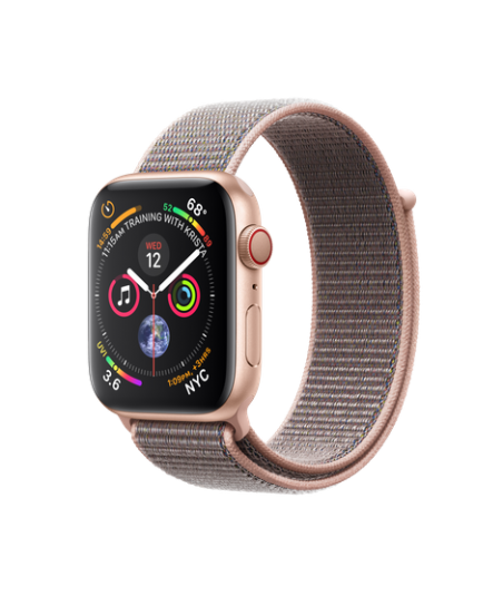 Apple Watch GPS + Cellular 44mm Gold Aluminum Case with Pink Sand Sport Loop (MTVX2)