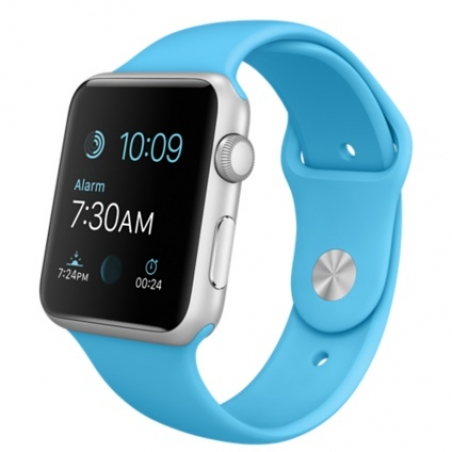 Apple Watch Sport 42mm Silver Aluminum Case  with Blue Sport Band MLC52