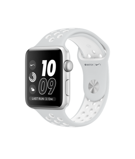 Apple Watch Nike+ 42 mm Silver Aluminum Case with Pure Platinum/White Nike Sport Band (MQ192)