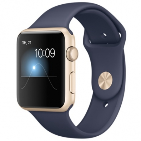 Apple Watch Sport 42mm Gold Aluminum Case with Midnight Blue Sport Band MLC72