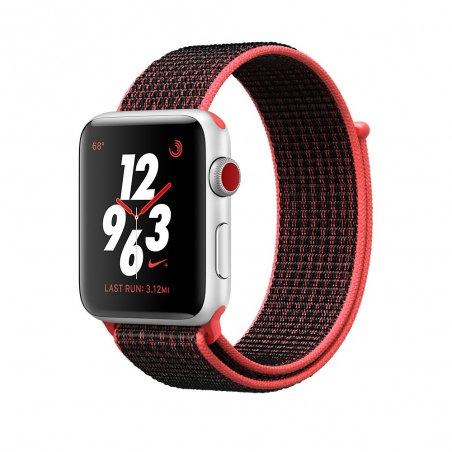 Apple Watch Nike+ GPS + Cellular 42mm Silver Aluminum Case with Bright Crimson/Black Sport Loop MQLE2