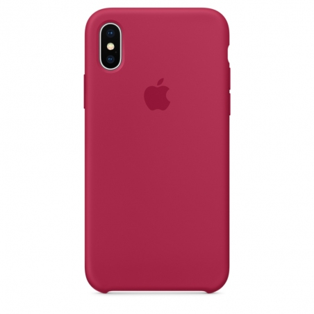 iPhone X Silicone Case - Rose Red