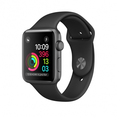 Apple Watch,  38mm Space Gray Aluminum Case with Black Sport Band MP022