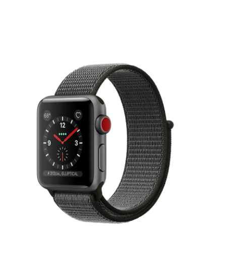 Apple Watch GPS + Cellular 38mm Space Gray Aluminum Case with Dark Olive Sport Loop MQJT2