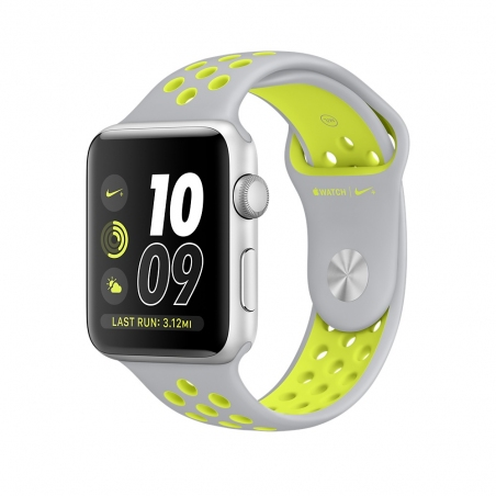 Apple Watch Nike+, 42 mm Silver Aluminum Case with Flat Silver/Volt Nike Sport Band MNYQ2