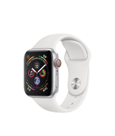 Apple Watch GPS + Cellular 40mm Silver Aluminum Case with White Sport Band (MTVA2)