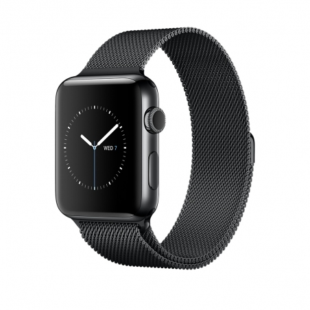 Apple Watch, 42 mm Space Black Stainless Steel Case with Space Black Milanese Loop MNQ12