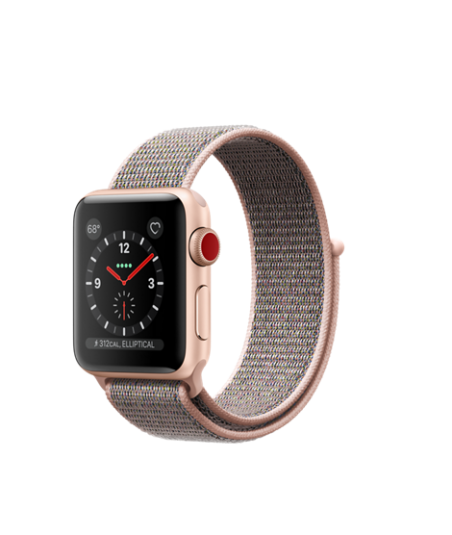 Apple Watch GPS + Cellular 38mm Gold Aluminum Case with Pink Sand Sport Loop MQJU2