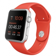 Apple Watch Sport 42mm Silver Aluminum Case with Orange Sport Band MLC42