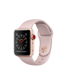 Apple Watch GPS + Cellular 38mm Gold Aluminum Case with Pink Sand Sport Band MQJQ2