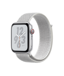 Apple Watch Nike+ Series 4 GPS + Cellular, 44mm Silver Aluminum Case with Summit White Nike Sport Loop (MTXА2)