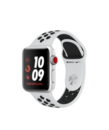 Apple Watch Nike+ GPS + Cellular 38mm Silver Aluminum Case with Pure Platinum/Black Sport Band MQL52