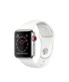 Apple Watch GPS + Cellular 38mm Stainless Steel Case with Soft White Sport Band MQJV2