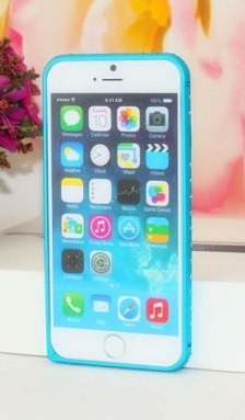 Bumper Metalic Slim with Diamonds iPhone 5/5S/SE Blue