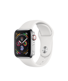 Apple Watch GPS + Cellular 40mm Stainless Steel Case with White Sport Band (MTVJ2)