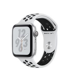 Apple Watch Nike+ Series 4 (GPS) 44mm Silver Aluminum Case with Pure Platinum/Black Nike Sport Band (MU6K2)