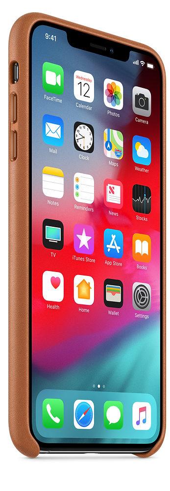 Чехол iPhone XS Max Leather Case - Saddle Brown
