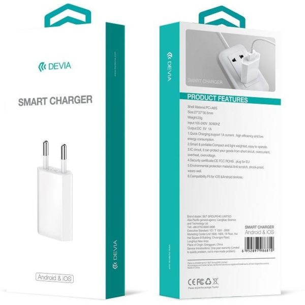 Адаптер питания DEVIA Smart Charger for iOS & Android