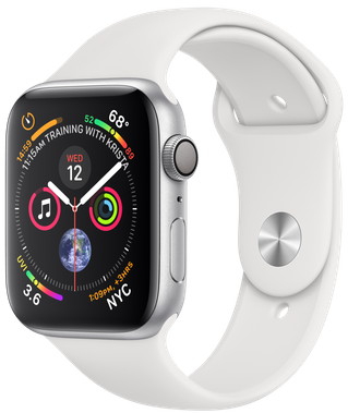 Apple Watch GPS 44mm Silver Aluminum Case with White Sport Band MU6A2