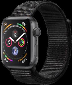 Apple Watch Series 4 GPS 44mm Space Gray Aluminum Case with Black Sport Loop MU6E2