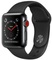Apple Watch Series 3 GPS + Cellular 38mm Space Black Stainless Steel Case with Black Sport Band MQJW2
