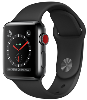 Apple Watch GPS + Cellular 38mm Space Black Stainless Steel Case with Black Sport Band MQJW2