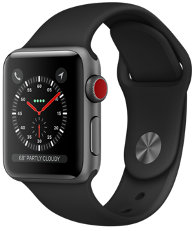 Apple Watch GPS + Cellular 38mm Space Gray Aluminum Case with Black Sport Band MQJP2