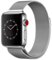 Apple Watch Series 3 GPS + Cellular 38mm Stainless Steel Case with Milanese Loop MR1F2
