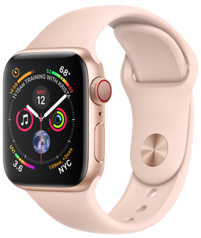 Apple Watch GPS + Cellular 40mm Gold Aluminum Case with Pink Sand Sport Band (MTVG2)