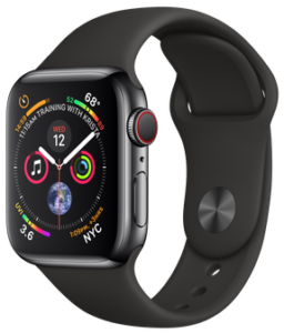 Apple Watch Series 4 GPS + Cellular 40mm Space Black Stainless Steel Case with Black Sport Band ( MTVL2)