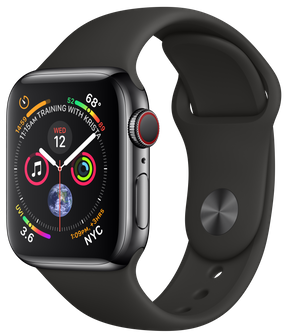 Apple Watch GPS + Cellular 40mm Space Black Stainless Steel Case with Black Sport Band ( MTVL2)