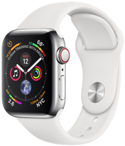 Apple Watch Series 4 GPS + Cellular 40mm Stainless Steel Case with White Sport Band (MTVJ2)