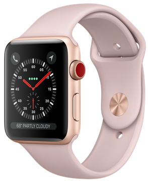 Apple Watch GPS + Cellular 42mm Gold Aluminum Case with Pink Sand Sport Band MQK32