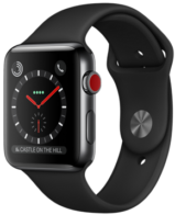 Apple Watch Series 3 GPS + Cellular 42mm Space Black Stainless Steel Case with Black Sport Band MQK92