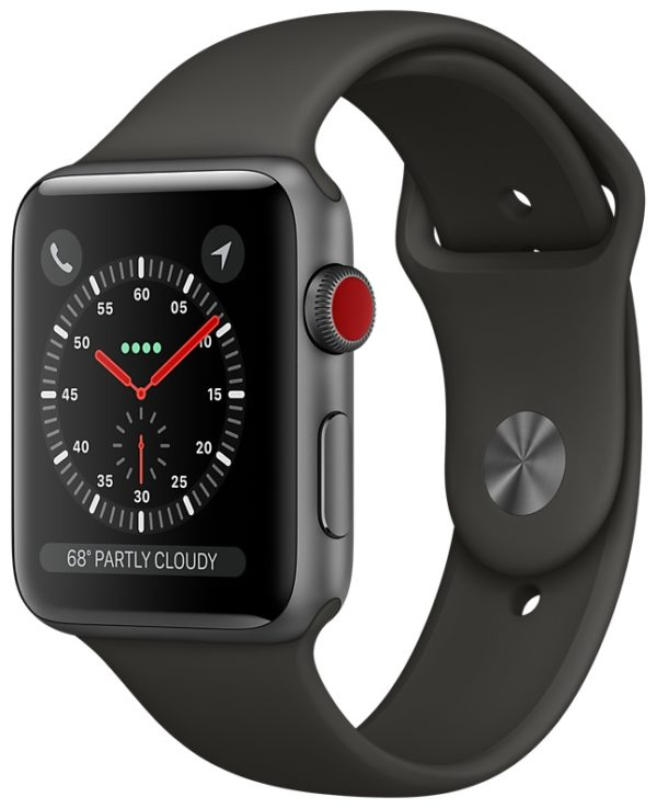 Apple Watch GPS + Cellular 42mm Space Gray Aluminum Case with Gray Sport Band MR2X2